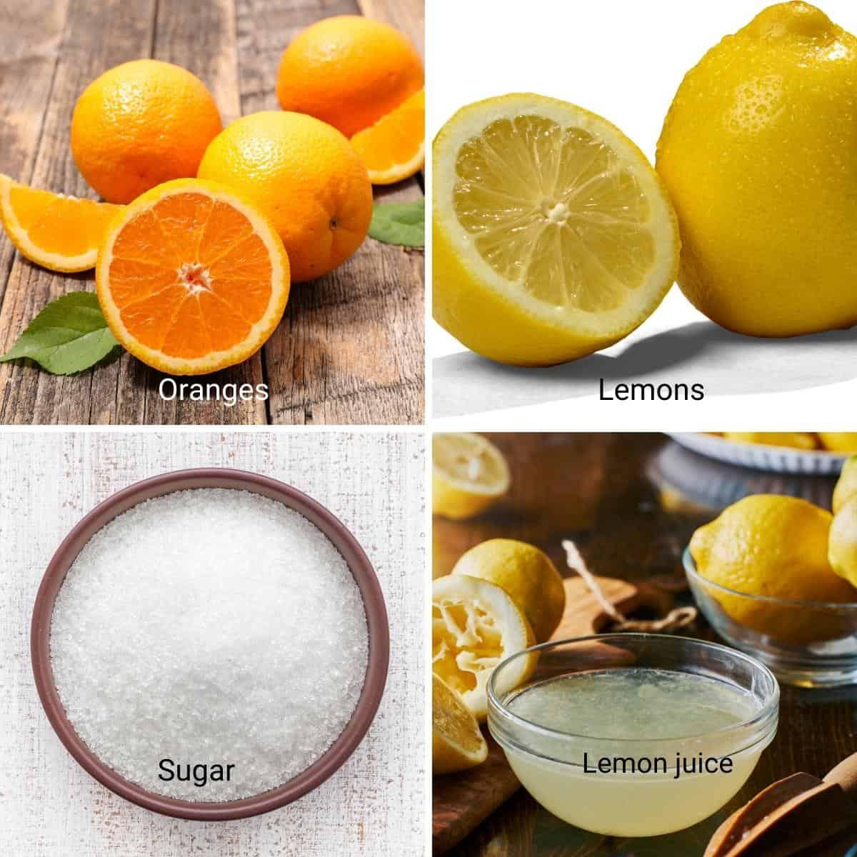 ingredients shot collage for orange marmalade.