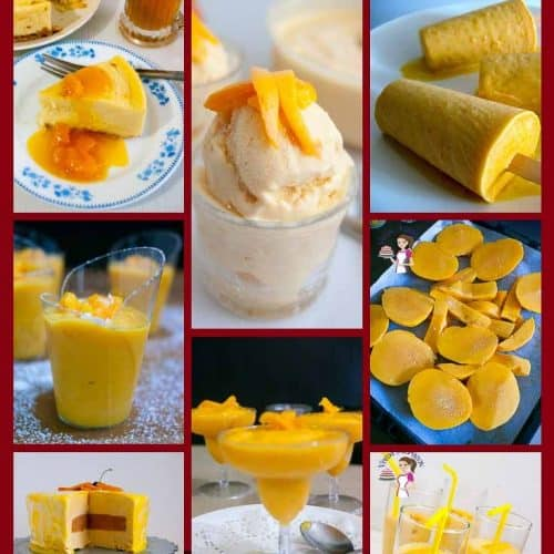 A collage of mango dessert recipes.