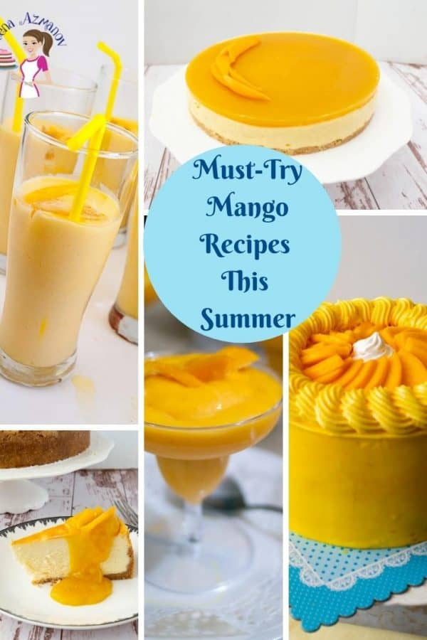 A collage of recipes using fresh mangoes.