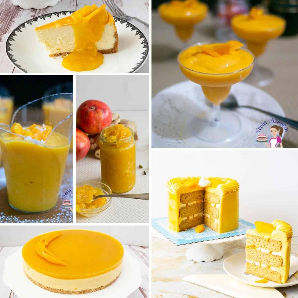 A collage of recipes using fresh seasonal mangoes.