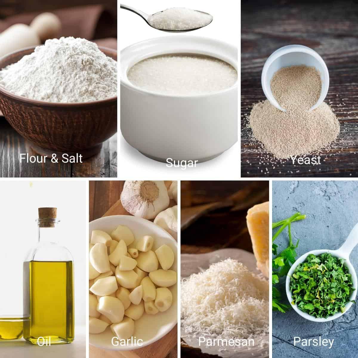 Ingredients shot collage for garlic rolls.