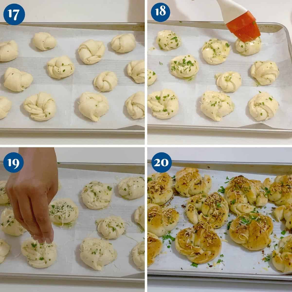 Progress pictures collage for garlic butter rolls.
