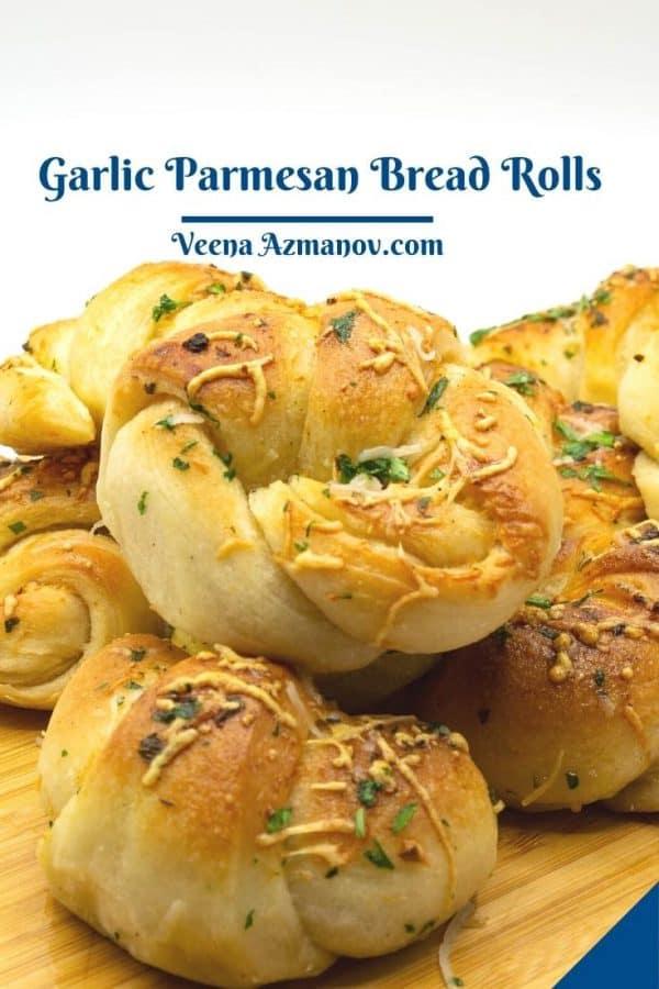 Pinterest image for herbed garlic rolls.