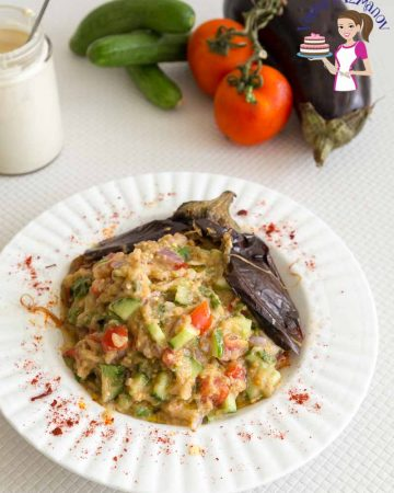 A bowl with roasted eggplant salad.