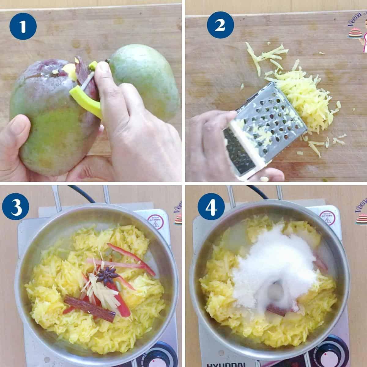Progress pictures making mango chutney.