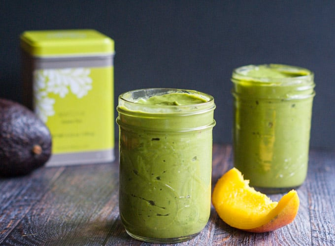 Mango Matcha Green Smoothie - A thick and creamy breakfast smoothie.