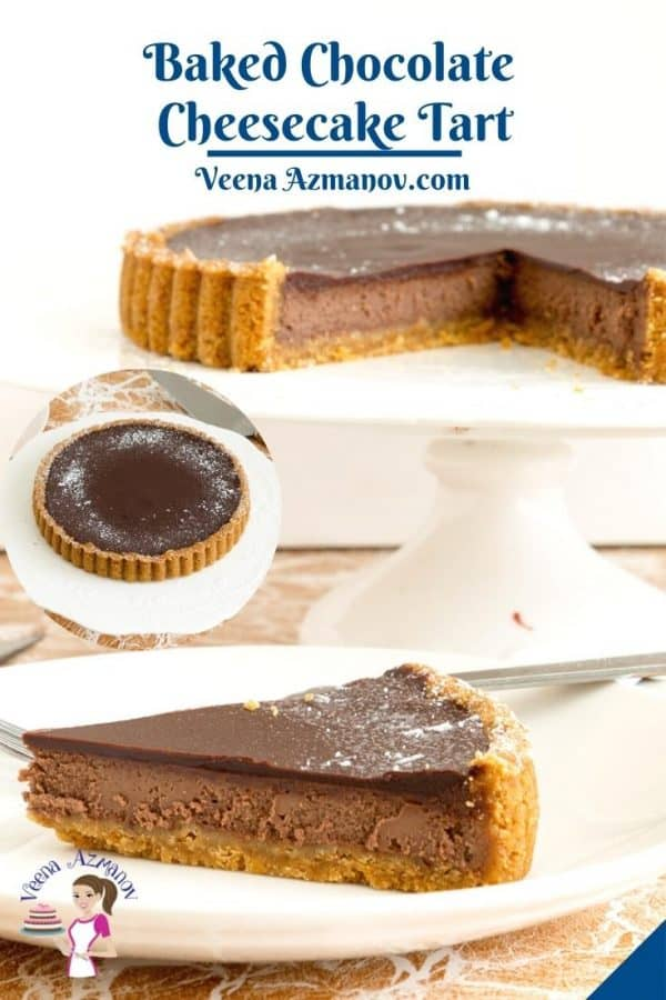 Pinterest image for cheesecake chocolate tart.