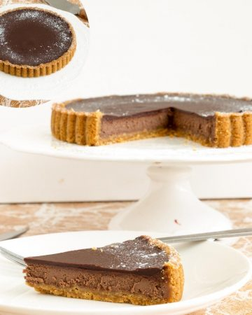 Baked tart with chocolate cheesecake batter.