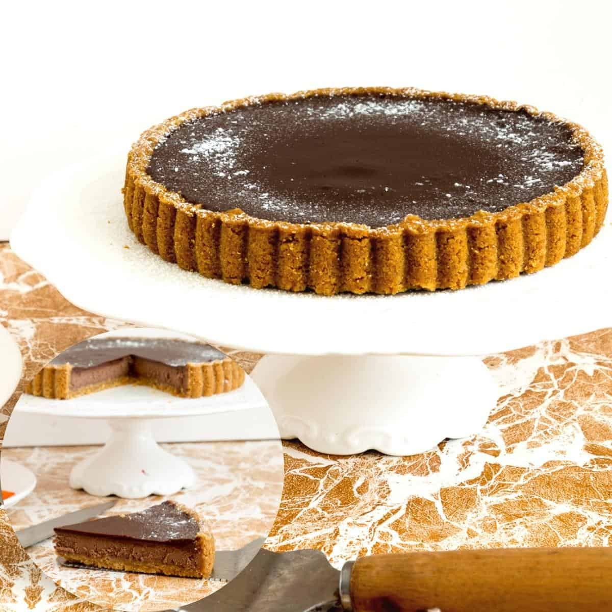 A cheesecake tart with chocolate.
