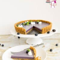 A Tart with Panna Cotta made with blueberries