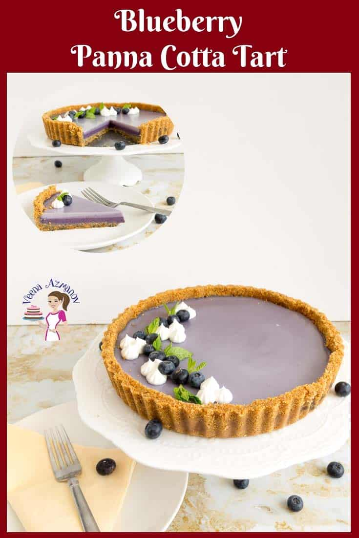 Make this beautiful ombre blueberry panna cotta tart this summer. Rich, creamy and decadent layers of panna cotta. #panna #cotta #pannacotta #recipe #blueberries #dessert via @Veenaazmanov