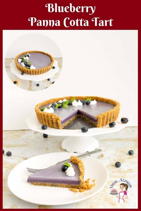 A blueberry panna cotta tart on a cake stand.