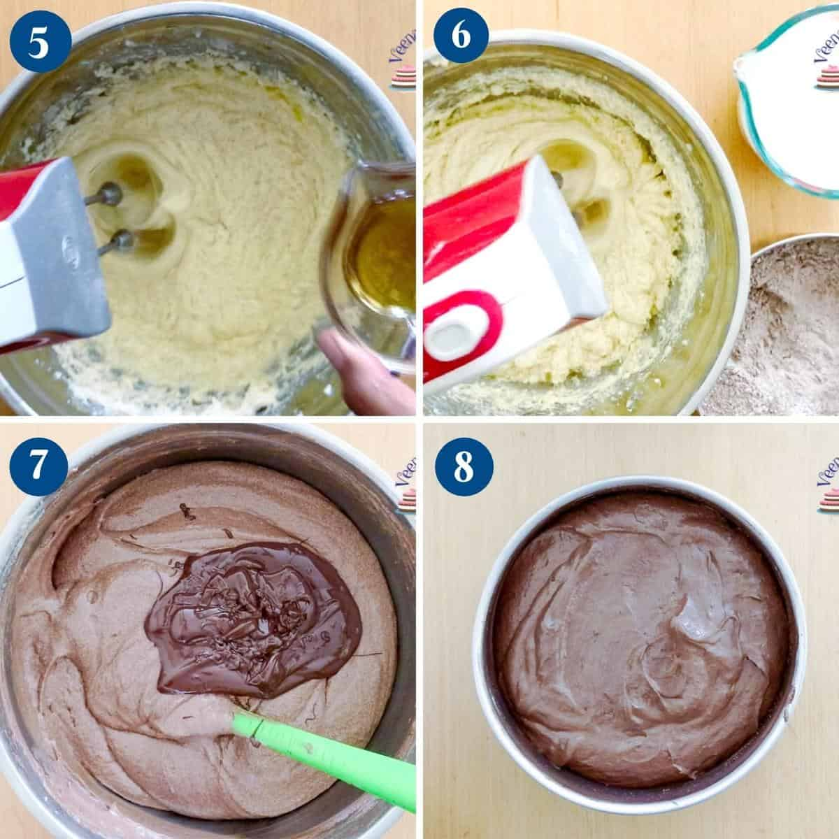 Progress pictures collage for fudgy chocolate cake.