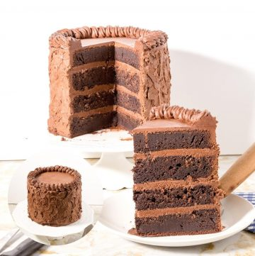 A piece of Chocolate fudge cake on a plate.