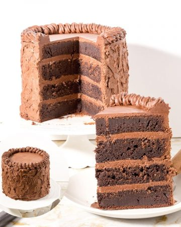 A piece of Chocolate fudge cake on a plate.