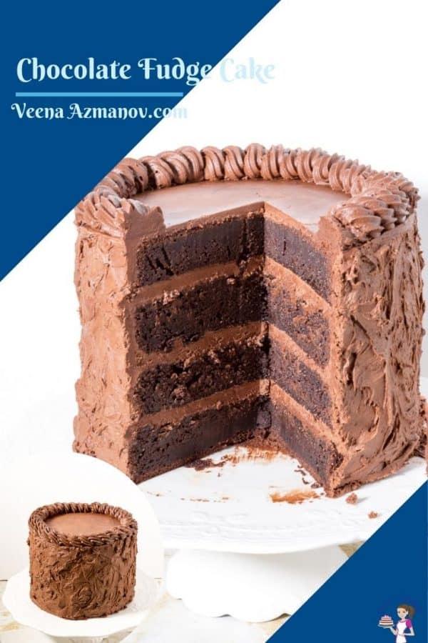 A pinterest image of fudge cake