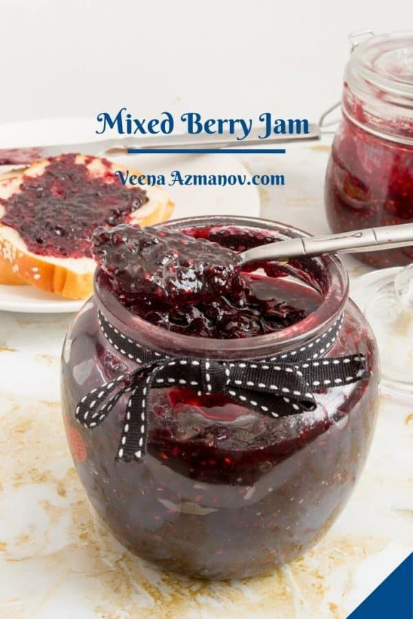 Pinterest image for mixed berry jam.