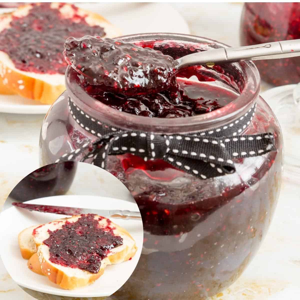 Berry jam in a spoon and slice of bread.