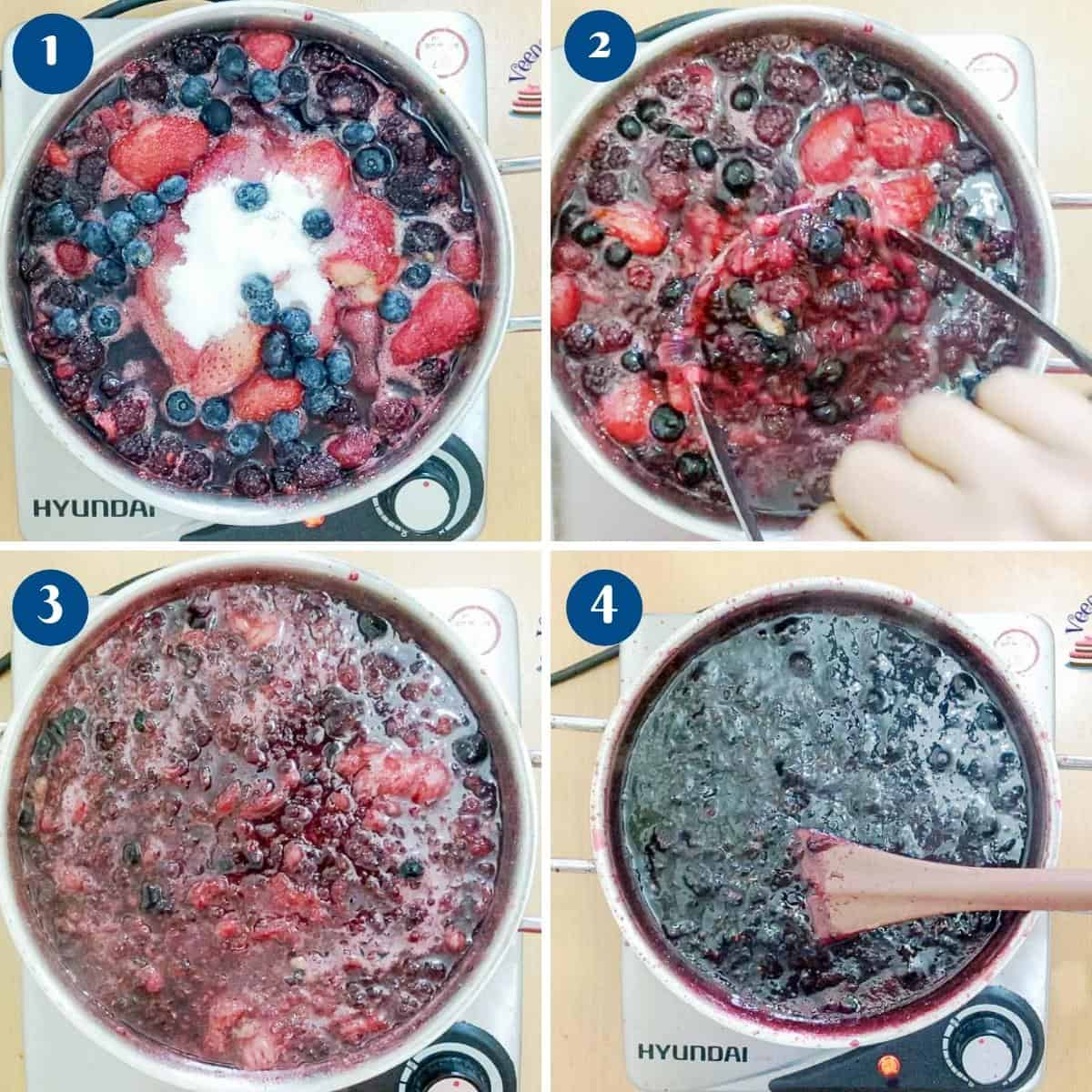 Progress pictures for mixed berry jam.