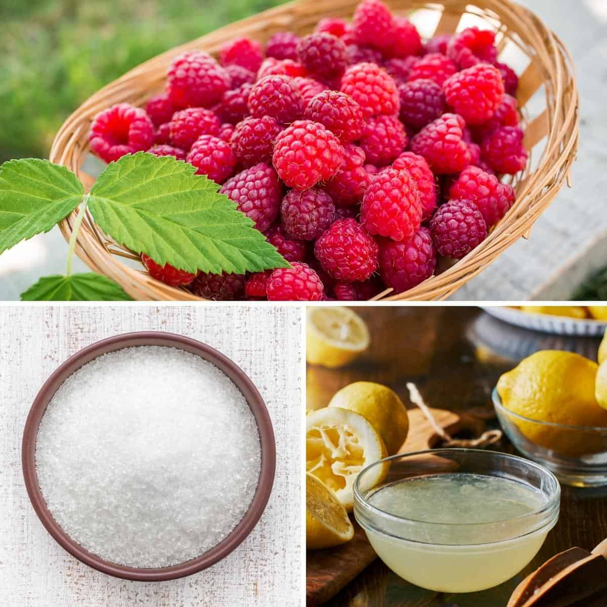 Ingredients shot collage - raspberry jam.