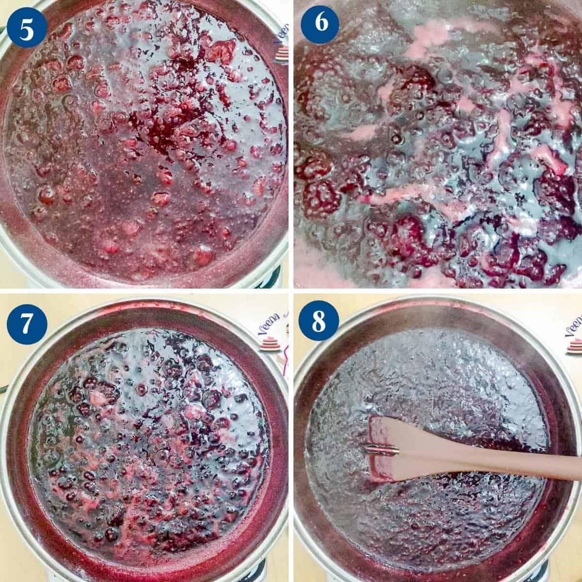 Progress pictures - jam with raspberries.