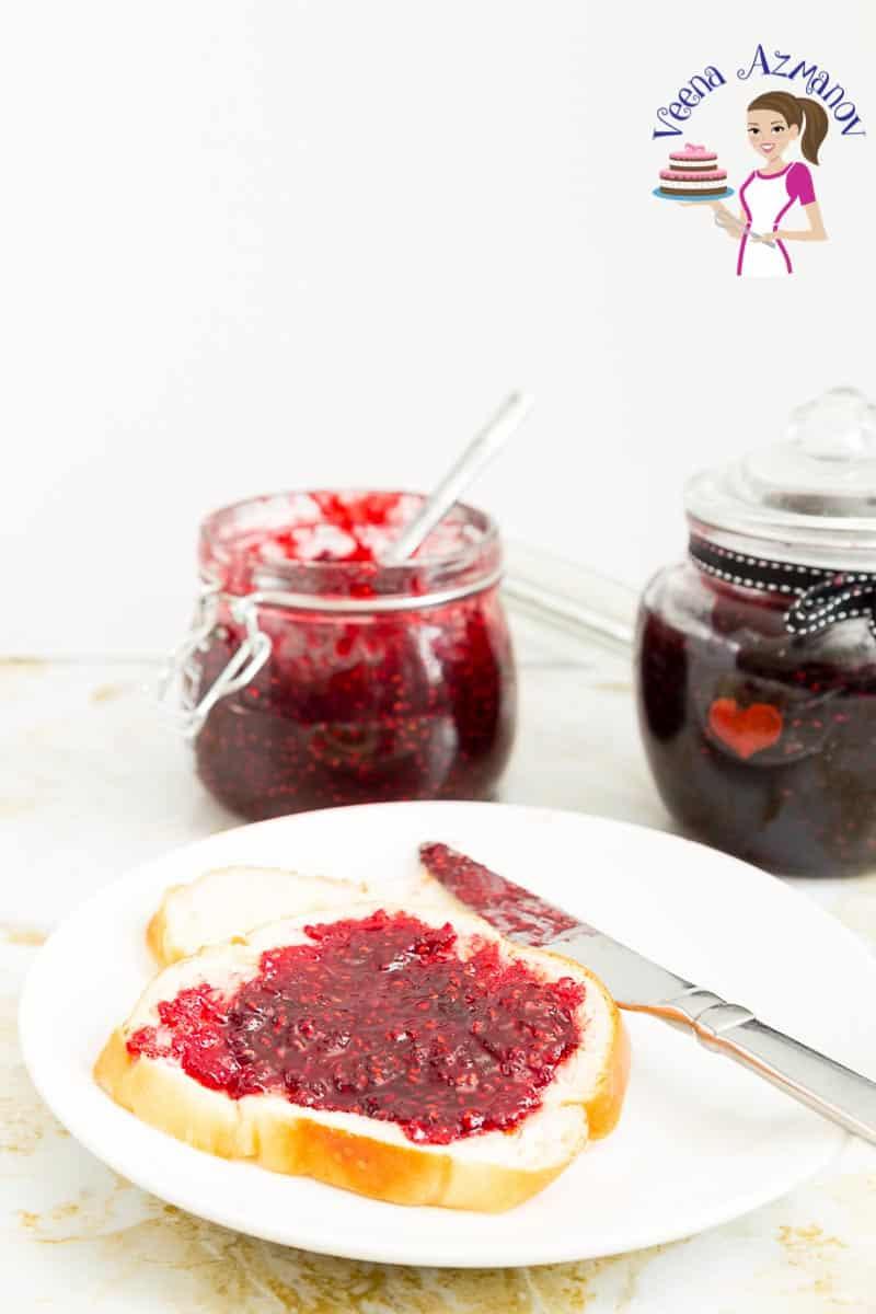 a jar of jam, homemade, made with raspberries,