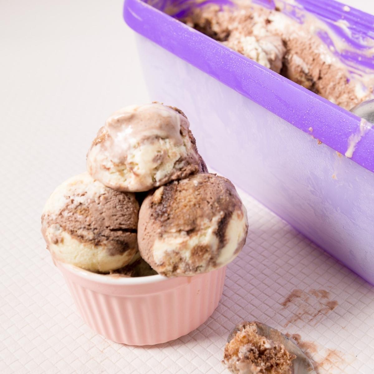 Pin ramekin with tiramisu ice cream.