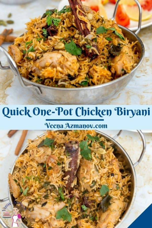 Pinterest image for biryani with chicken in an Indian pot