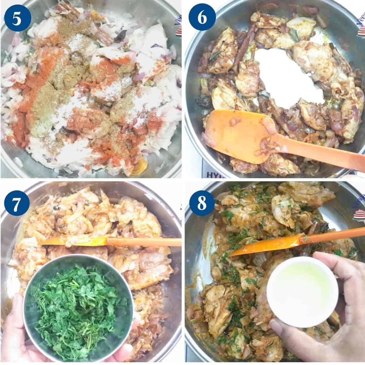 Progress pictures cooking chicken for biryani.