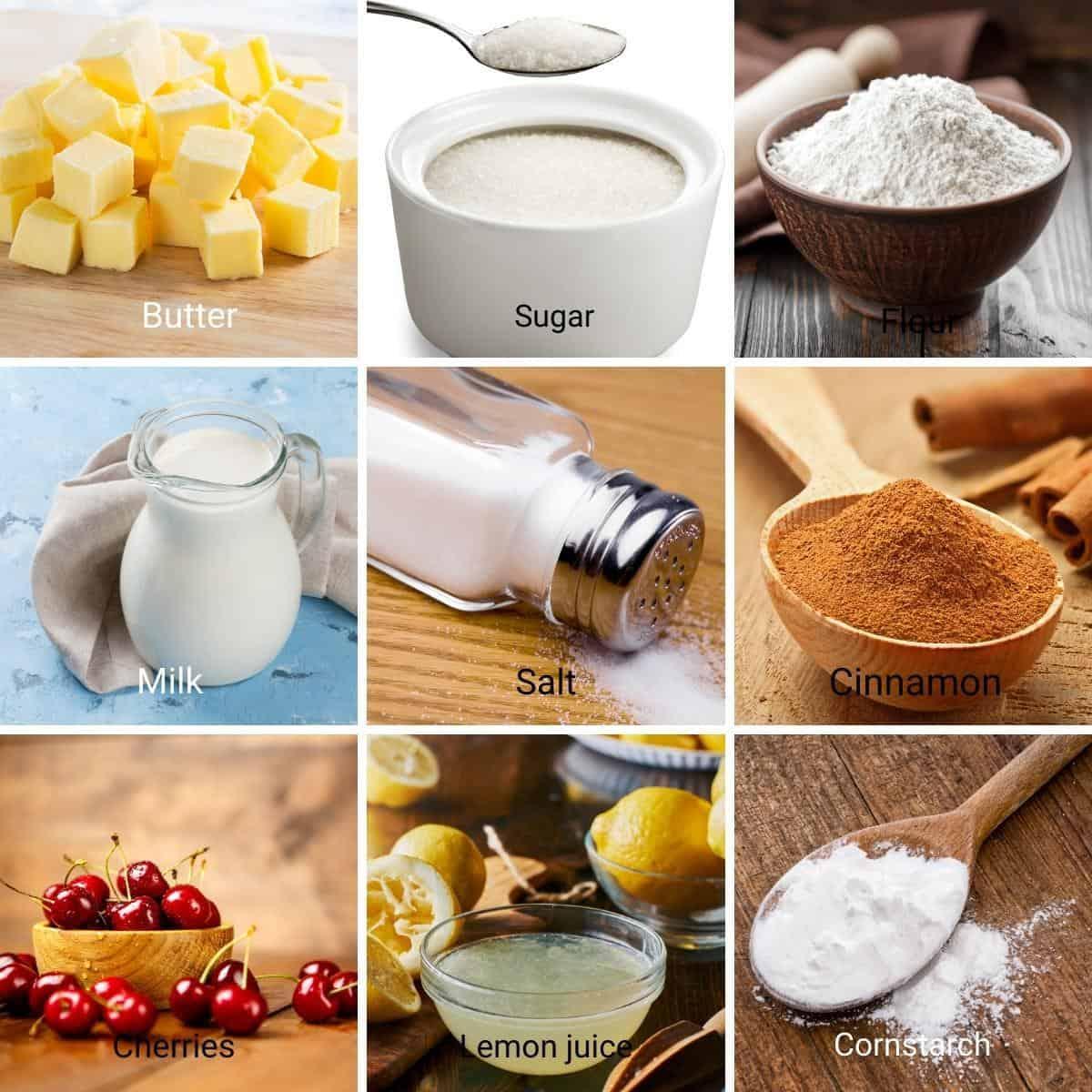 Ingredients shot collage - cherry bars.