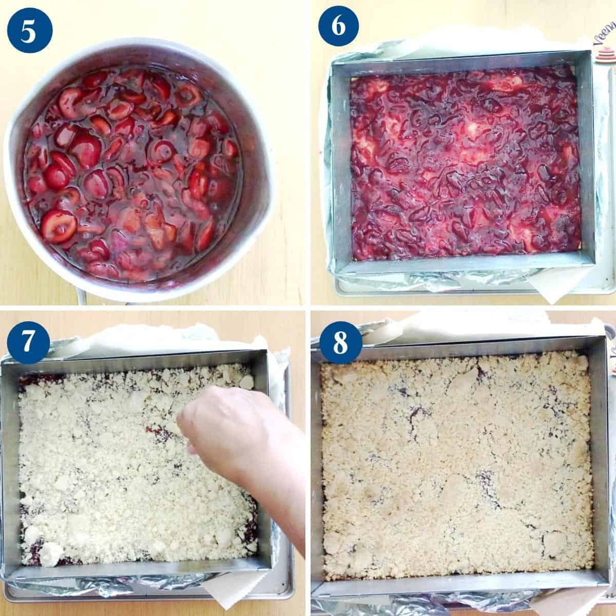 Progress pictures collage making crumble bars.