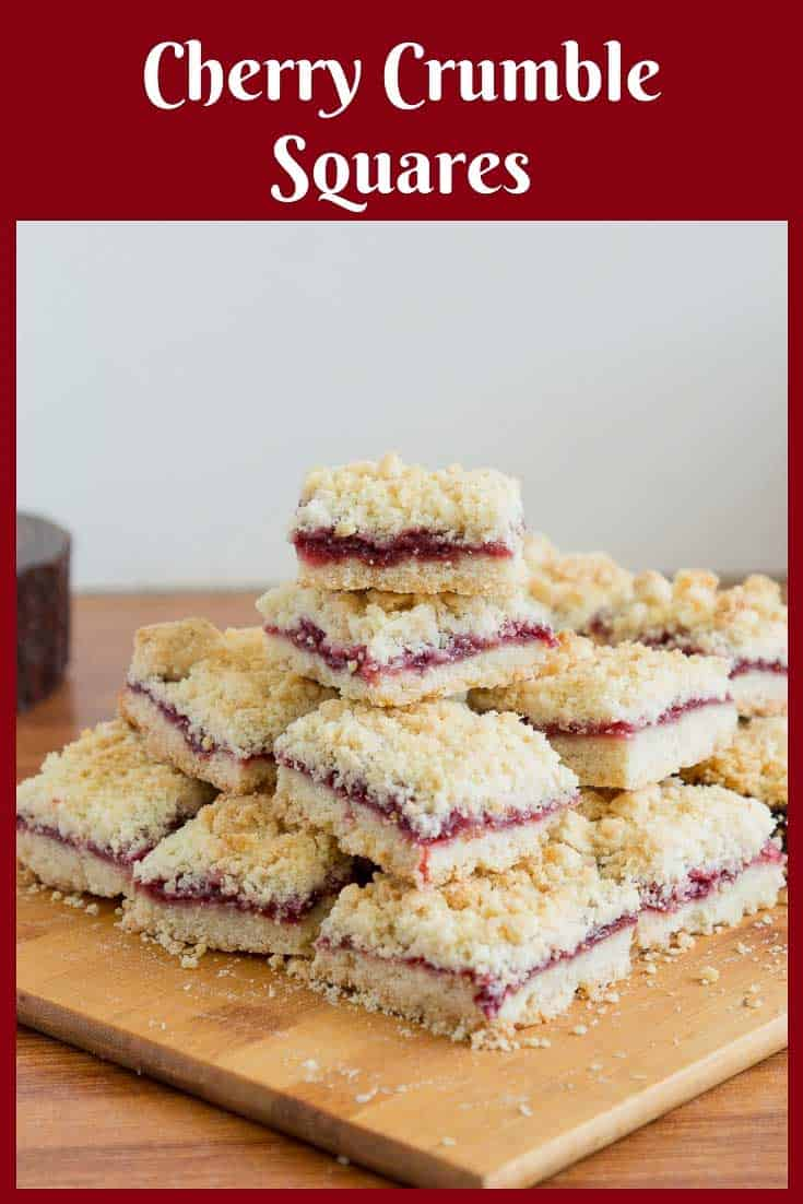 Give your classic cherry pie filling a crumble twist with these cherry pie crumble bars or cherry crumble squares. A great way to use the abundance of fresh summer cherries. Who doesn't love buttery, crumbly bite-size cherry crumb bars after a BBQ party or as a snack with a cup of coffee? #cherrycrumblebars #cherrycrumblesquares #Cherrybars #cherrysquares #cherrydessert #cherry #cherries via @Veenaazmanov