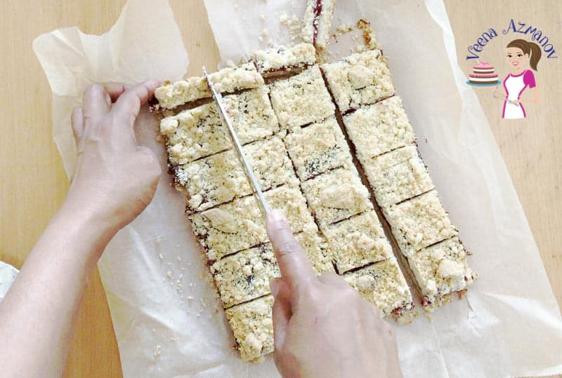 Cutting the crumble bars into squares