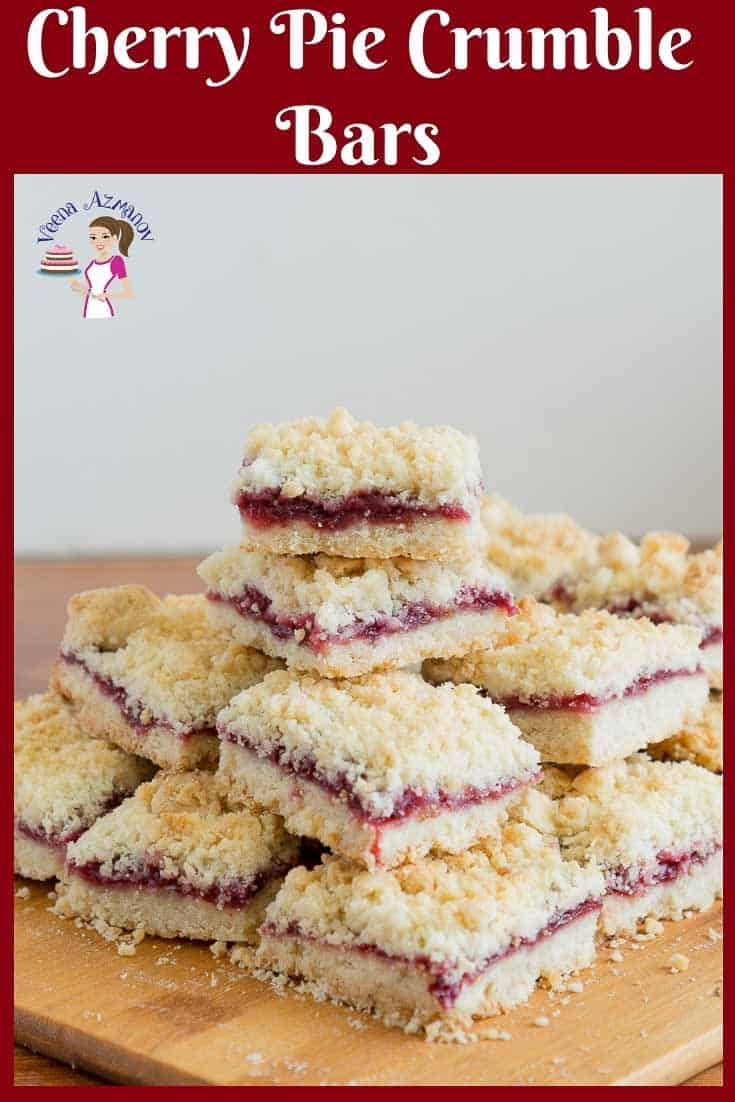 A stack of cherry crumble squares on a table.