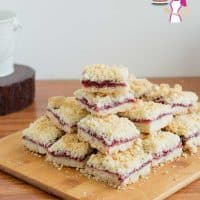 Homemade Bars, Squares, Cherry, Cherries, Crumble Mixture,