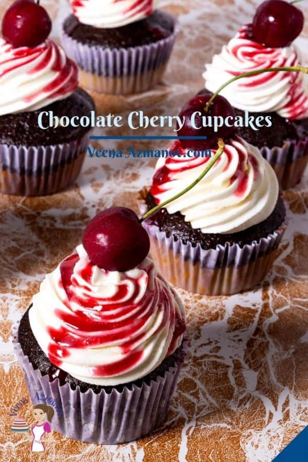 Pinterest image for chocolate cherry cupcakes.