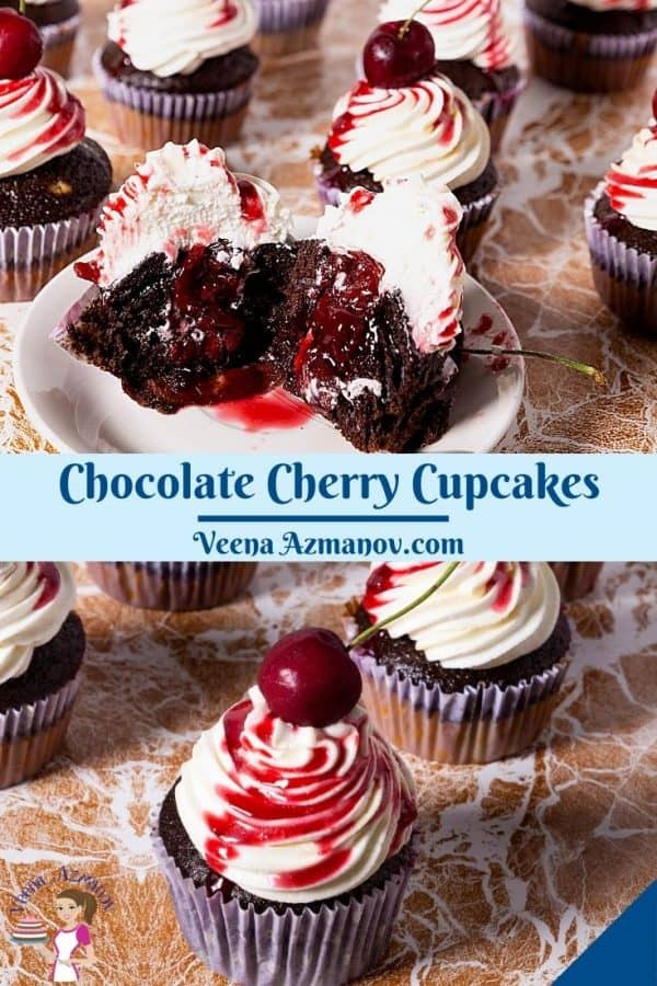 Pinterest image for cherry cupcakes.