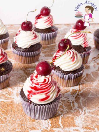 Cherry Cupcakes topped with fresh cherries. Cherry, Recipe, Chocolate, Cupcakes