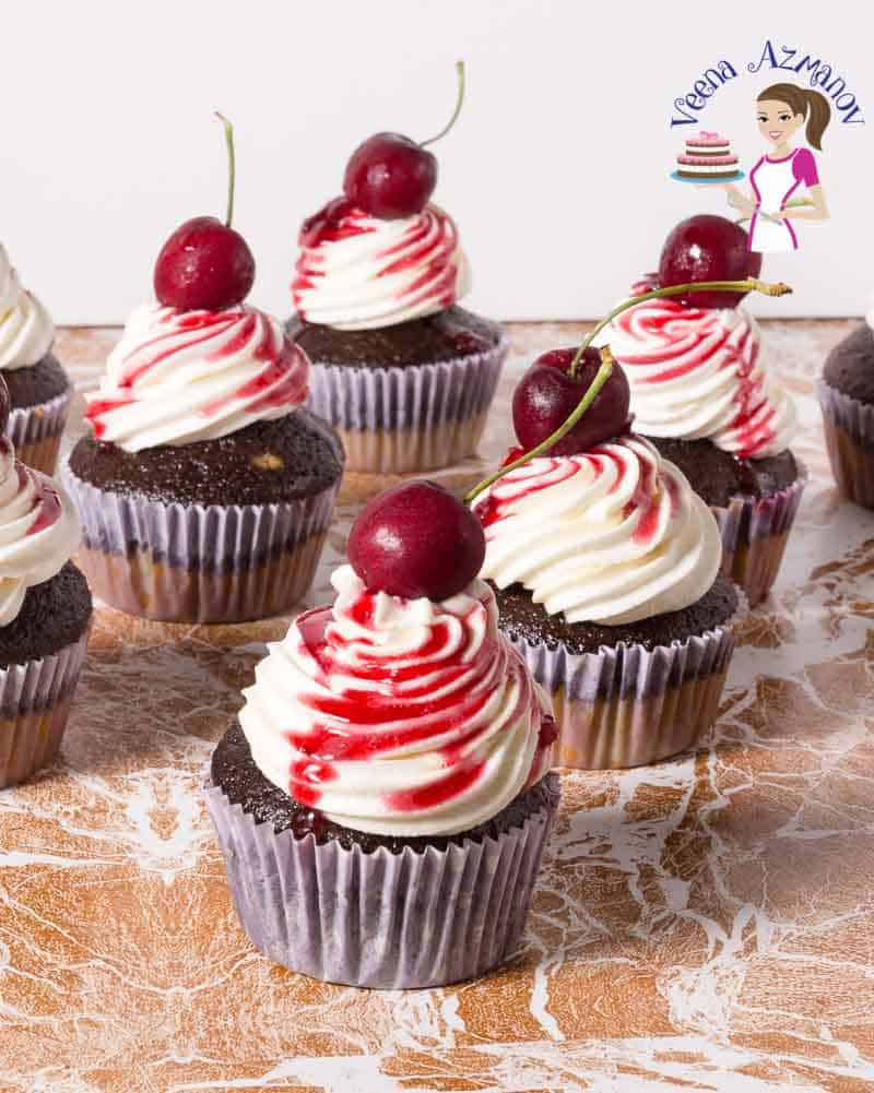 Cherry Cupcakes topped with fresh cherries. Cherry, Recipe, Chocolate, Cupcakes