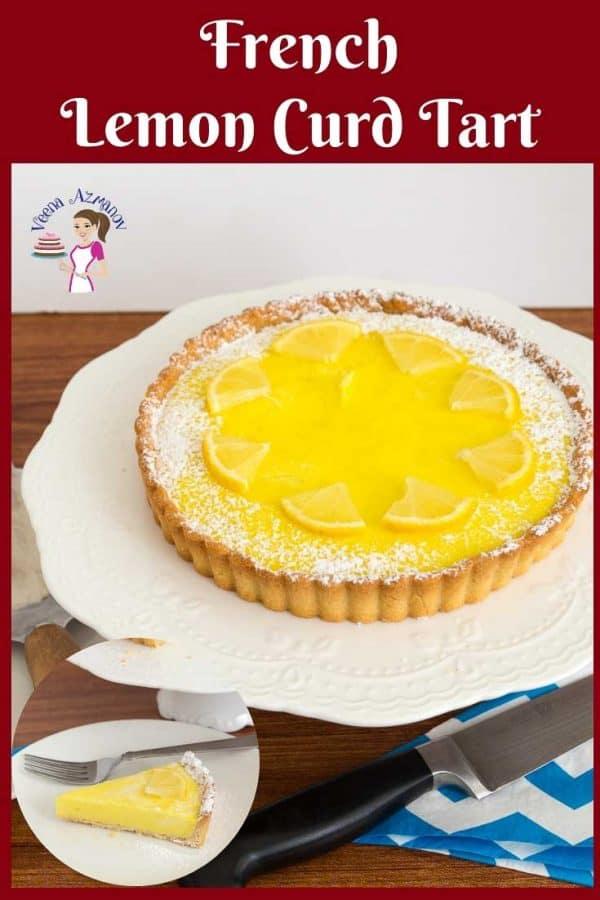 A lemon tart on a cake stand.