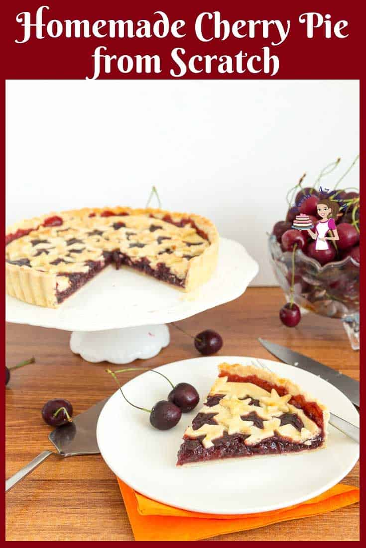 This cherry pie is a great way to use cherries in summer. Crips, buttery flaky pie crust filled with sweet cherry filling made from scratch #Cherry #filling #CherryPie #cherrypie #homemade #baked via @Veenaazmanov