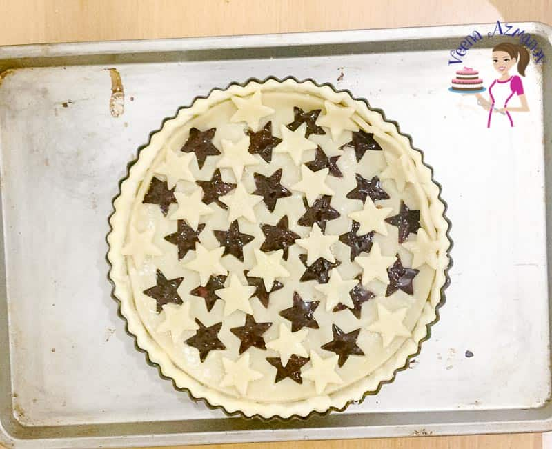 Add the stars on the top crust before baking.