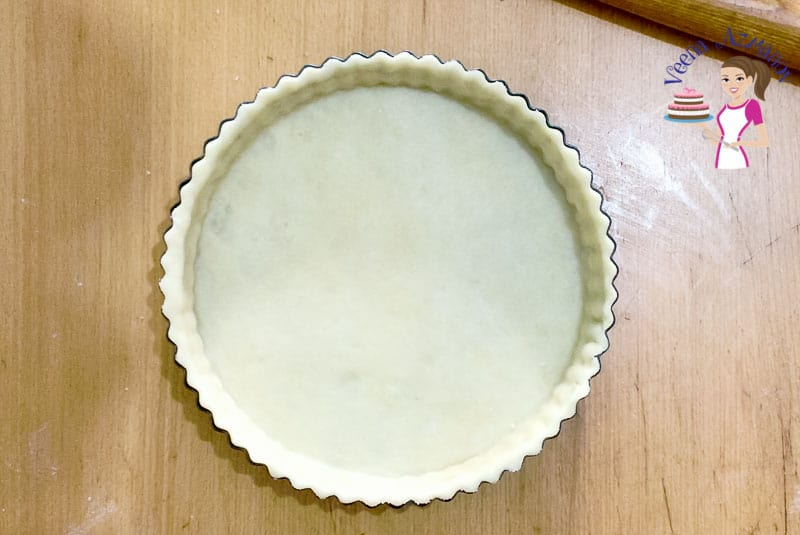 Homemade Crust rolled into the tart pan for Pie