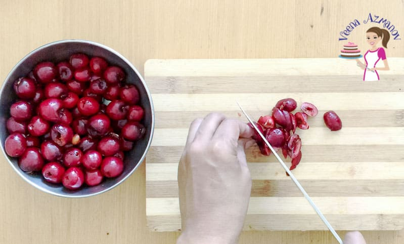 Cutting the cherries for Pie Filling