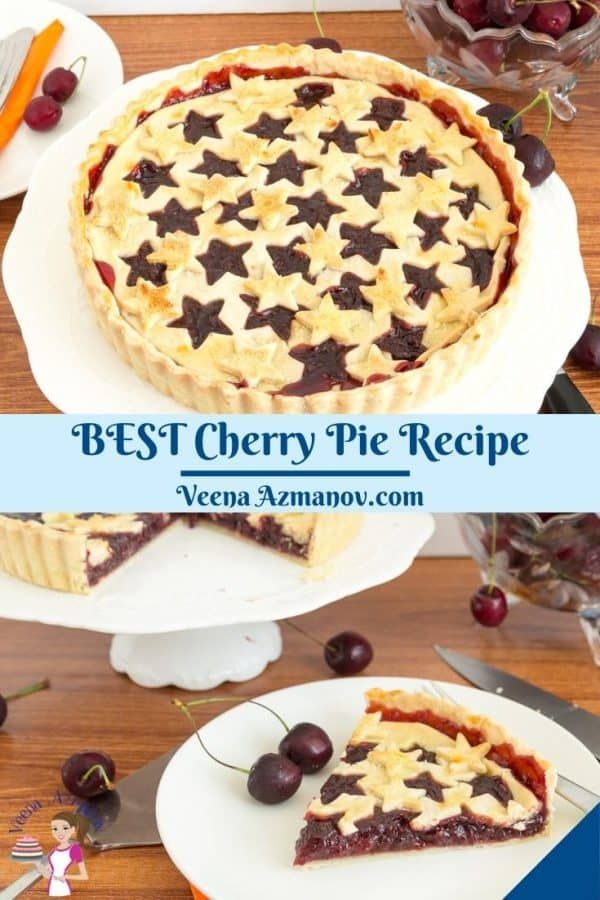 Pinterest image for pie with cherry filling.