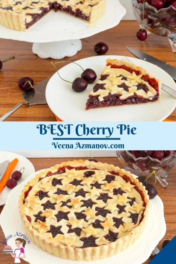 Pinterest image for pie with cherries.