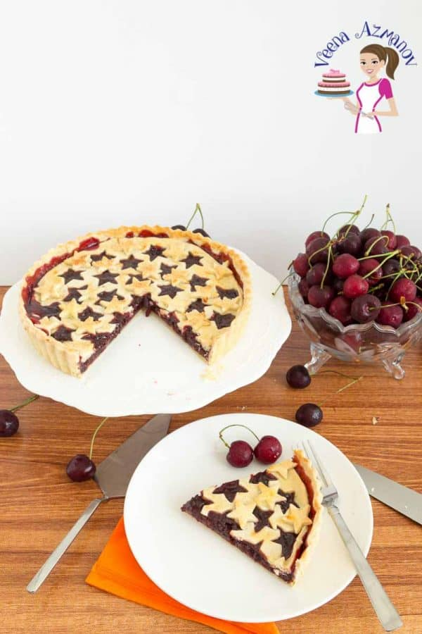 A freshly baked slice of Homemade Pie with Fruit Filling - Homemade Cherry Tart