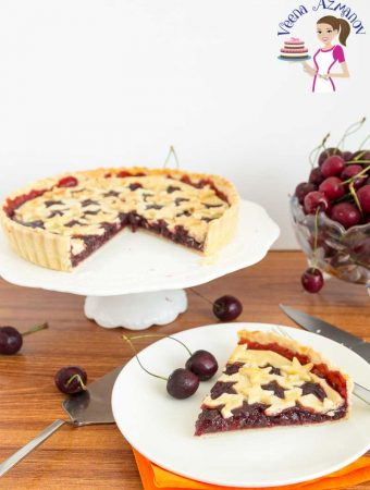 A freshly baked slice of Homemade Pie with Fruit Filling - Homemade Cherry Pie