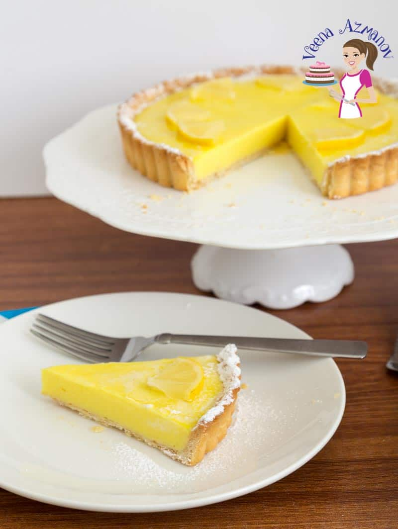 A Lemon pastry tart on display.