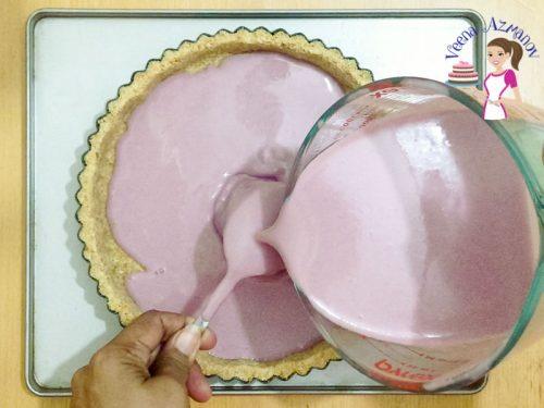 Pour the blackberry pannacotta mixture into the tart Progress pictures